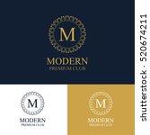 monogram emblem in dark  light... | Shutterstock .eps vector #520674211