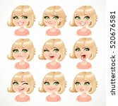 beautiful cartoon blond girl... | Shutterstock .eps vector #520676581