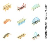 Stock vector types of bridges icons set cartoon illustration of types of bridges vector icons for web 520676689
