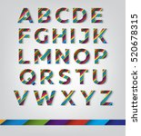 colorful letters with diagonal... | Shutterstock .eps vector #520678315