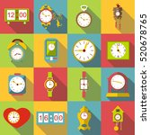 different clocks icons set.... | Shutterstock .eps vector #520678765