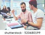 employee asking his boss... | Shutterstock . vector #520680199