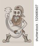 funny man singing at mandolin ... | Shutterstock .eps vector #520680607