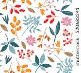 doodle  autumn pattern.... | Shutterstock .eps vector #520683241