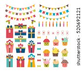 cute set of birthday party or... | Shutterstock .eps vector #520692121