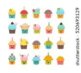 set of cupcakes and muffins.... | Shutterstock .eps vector #520693129