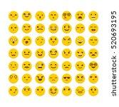 set of emoticons. funny cartoon ... | Shutterstock .eps vector #520693195
