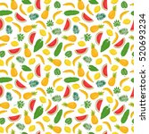 seamless pattern with bananas ... | Shutterstock .eps vector #520693234