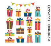 set of different gift boxes.... | Shutterstock .eps vector #520693255