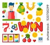illustration of casino elements ... | Shutterstock . vector #520700299