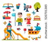 children playground. teeter... | Shutterstock . vector #520701385