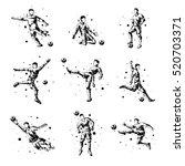 set of abstract football... | Shutterstock . vector #520703371