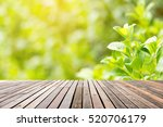 wood floor with fresh leaves... | Shutterstock . vector #520706179