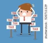cartoon businessman and tax | Shutterstock .eps vector #520711129