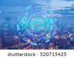 double exposure of night... | Shutterstock . vector #520715425