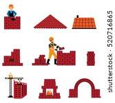bricklayer  builder  profession ... | Shutterstock .eps vector #520716865