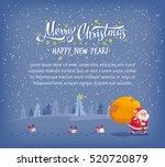 happy merry christmas vector... | Shutterstock .eps vector #520720879