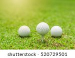 three golf ball with tee off ... | Shutterstock . vector #520729501