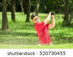 golfer hit golf ball from sand... | Shutterstock . vector #520730455