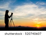 silhouette of woman shooting... | Shutterstock . vector #520740607