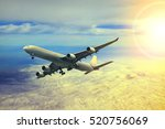 air plane flying over cloud... | Shutterstock . vector #520756069