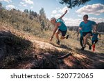trail running athletes crossing ... | Shutterstock . vector #520772065