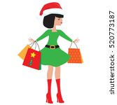 christmas girl elf cartoon... | Shutterstock .eps vector #520773187