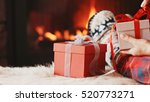 festive gift boxes standing by... | Shutterstock . vector #520773271
