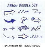 set of arrow doodle on paper... | Shutterstock .eps vector #520778407