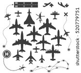 aircraft or airplane silhouette ... | Shutterstock .eps vector #520779751