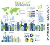 eco city in flat design.... | Shutterstock .eps vector #520780774