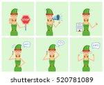 set of female christmas elf... | Shutterstock .eps vector #520781089