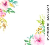 Stock photo cute watercolor flower frame watercolor flower corners hand painted flower frame blank flower 520786645