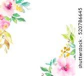 chic watercolor flower frame... | Shutterstock . vector #520786645