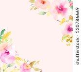 cute watercolor flower... | Shutterstock . vector #520786669
