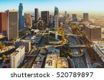 Stock photo aerial view of a downtown los angeles at sunset 520789897