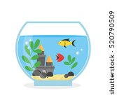 round glass aquarium for... | Shutterstock .eps vector #520790509