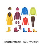 winter clothing woman set... | Shutterstock .eps vector #520790554