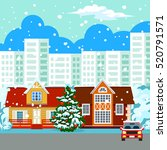 winter cityscape. in the...   Shutterstock . vector #520791571