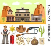 cowboy icons set  and wild west ... | Shutterstock .eps vector #520795741
