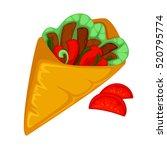 burrito roll  shawarma or gyros ...   Shutterstock .eps vector #520795774