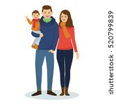 happy family in winter clothes | Shutterstock .eps vector #520799839