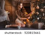 beauty young smiling girl with... | Shutterstock . vector #520815661