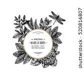 floral wedding invitation.... | Shutterstock .eps vector #520816807