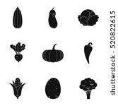 farm vegetables icons set.... | Shutterstock .eps vector #520822615