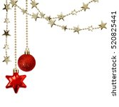 christmas garlands with stars... | Shutterstock . vector #520825441