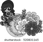 a cute little girl and the... | Shutterstock .eps vector #520831165