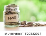 coins in glass jar for money... | Shutterstock . vector #520832017