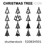 vector line christmas tree... | Shutterstock .eps vector #520834501