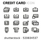 vector line credit card icons... | Shutterstock .eps vector #520834537